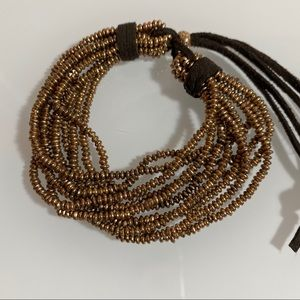 Lucky Brand | Copper Bead Leather Bracelet